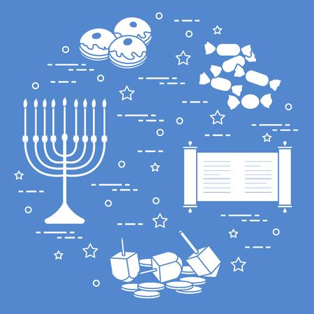 Holiday Hanukkah elements icon Design for poster Çizim