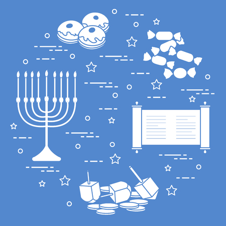 Holiday Hanukkah elements icon Design for poster Vettoriali