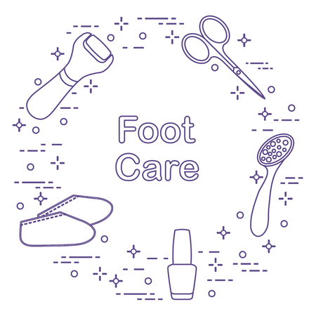 Tools for pedicure icons Illustration