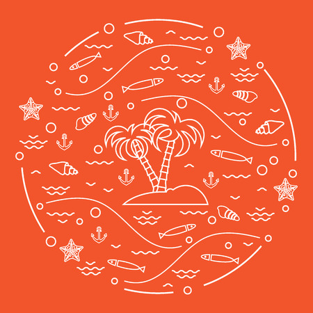 Cute vector illustration with fish, island with palm trees, anchor, waves, seashells, starfish,  arranged in a circle. Design for banner, poster or print. Ilustrace