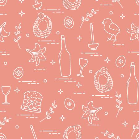 Pattern of Easter symbols: Easter cake, chick, lily, baskets, eggs and other. Design for banner, poster or print. Ilustração