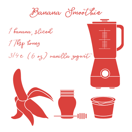 Recipe, blender and ingredients for making banana smoothie. Healthy eating habits. Design for banner and print.