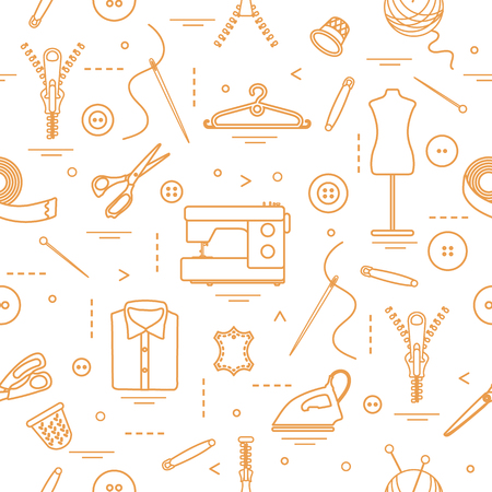 Seamless pattern of tools and accessories for sewing. Template for design, fabric, print. Illustration
