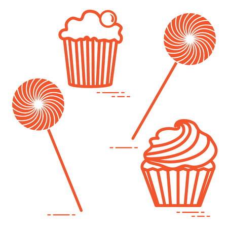 Lollipops and cakes in monochrome illustration Design for banner and print. Illustration
