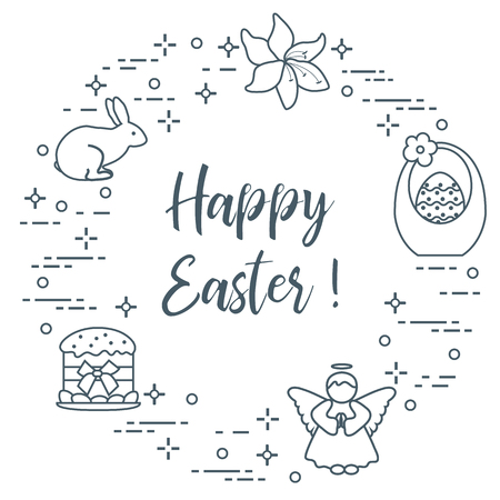 Easter elements in monochrome illustration with text, design element for postcard, banner or print.