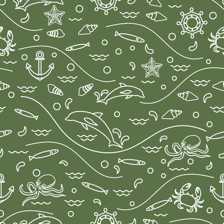 Cute seamless pattern with dolphins, octopus, fish, anchor, helm, waves, seashells, starfish, crab. Design for banner, poster or print.
