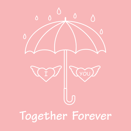 Two hearts with wings under an umbrella in the rain. Design for banner, poster or print. Greeting card Valentine's Day.