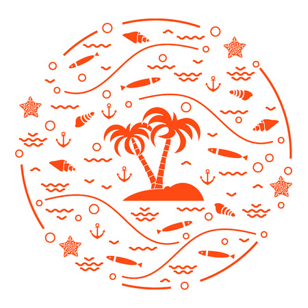 Cute vector illustration with fish, island with palm trees, anchor, waves, seashells, starfish,  arranged in a circle. Design for banner, poster or print. Vectores
