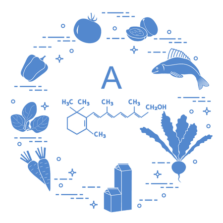 Foods rich in vitamin A silhouette illustration.
