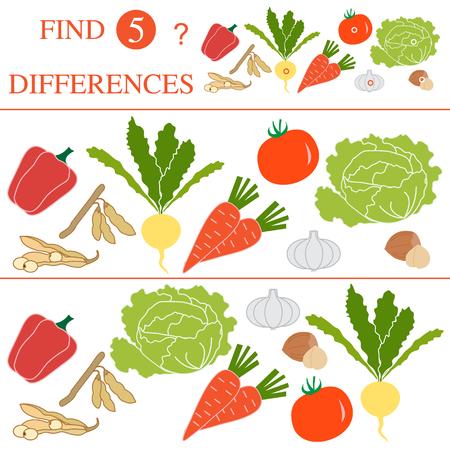 Vegetables: soya beans, tomato, turnip, garlic, carrots, hazelnut, cabbage, pepper. Find 5 differences. Educational games for children. Illustration