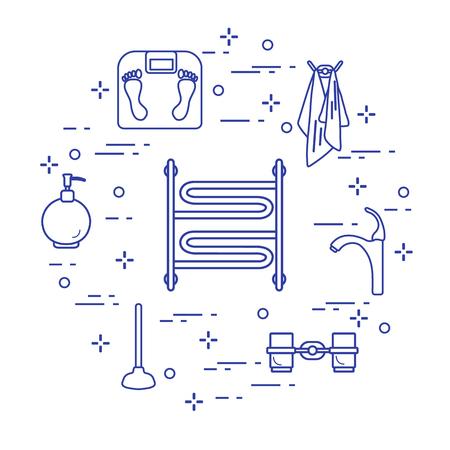 Bathroom elements in outline, Design for poster or print.
