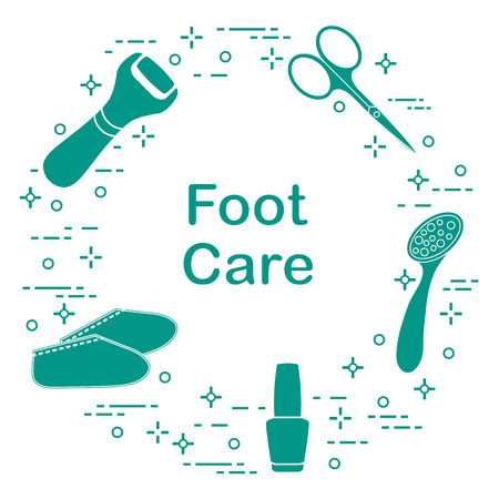Tools for pedicure. Nail polish, electric foot file, pumice, scissors, silicone socks. Personal care. Vectores