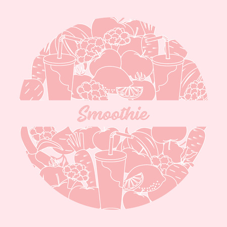 Smoothie and ingredients for making smoothie. Healthy eating habits. Design for banner and print. Illusztráció