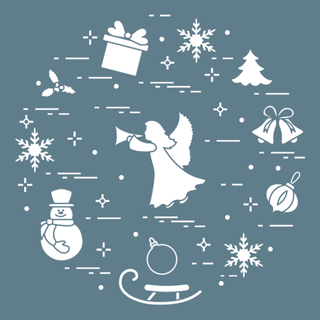 New Year and Christmas symbols. Winter elements made in line style.