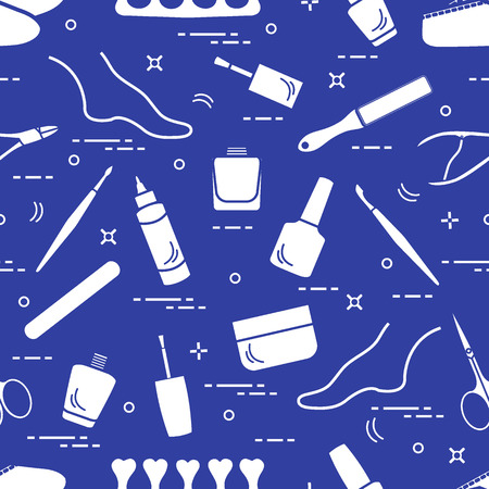 Pattern of manicure and pedicure tools and products for beauty and care. Design for banner, poster or print. Ilustração