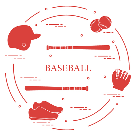 Glove, balls, baseball bats, baseball helmet, shoes. Baseball equipment. Sports elements.