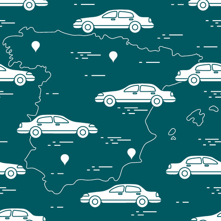 Pattern with cars and map of Spain. Travel and leisure. Design for announcement, advertisement, banner or print.