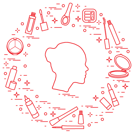 Silhouette of female head and various accessories for the application of decorative cosmetics.