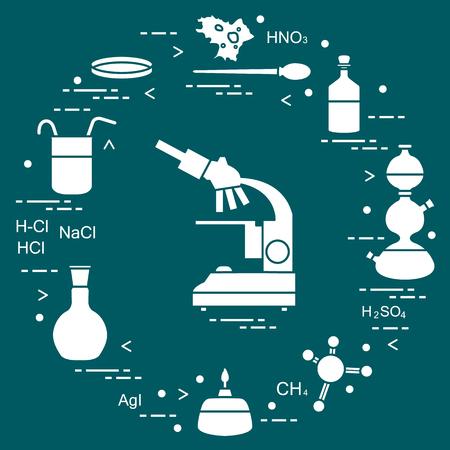 Chimie scientifique, éléments de l'éducation. Conception pour bannière, affiche ou impression. Banque d'images - 96913499