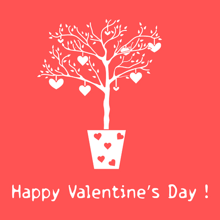 Creative tree with leaves and with hanging hearts. Greeting card Valentine's. Design for banner, poster or print.