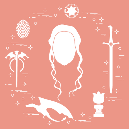 girl with long hair in the center with sword, dragon. Vector illustration.