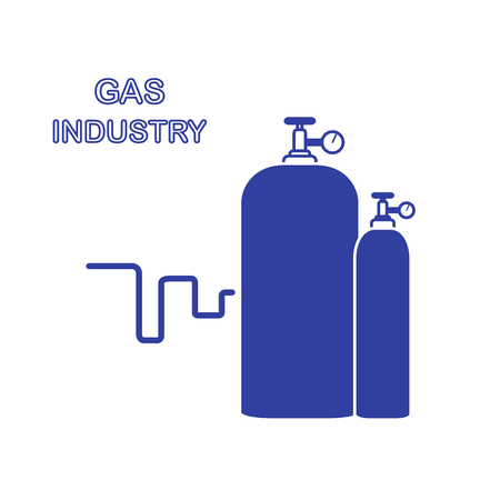 Gas cylinders. Gas industry. Design for poster or print. Vector illustration.