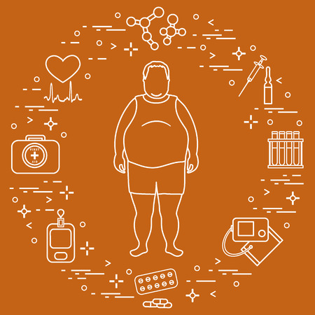 Fat man with medical devices, tools and drugs around him. Health and treatment. Design for banner and print. Vector illustration.