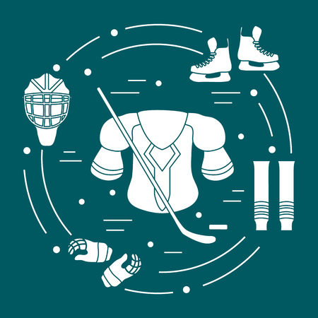 Skates, gloves, helmet, shoulder pads, hockey stick, hockey socks, ice hockey puck. Hockey equipment. Winter sports elements. Vector illustration.