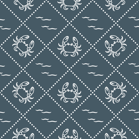 A Seamless pattern with crabs and waves. Design for banner and print. Ilustração