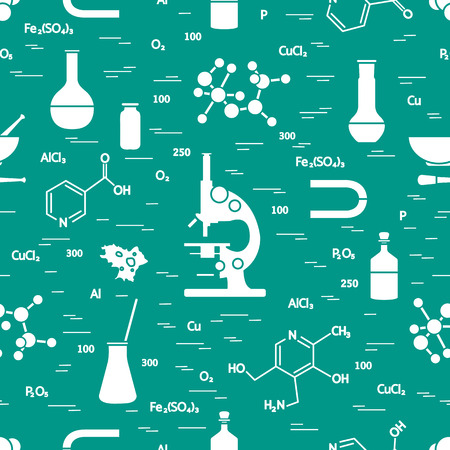 Seamless pattern with variety scientific, education elements: microscope, flasks, formula, pestle and other. Design for banner, poster or print. Vector illustration.  イラスト・ベクター素材