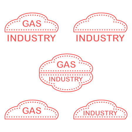 Label, stickers, logos of the gas industry. Design for announcement, advertisement, banner or print. Vector illustration.