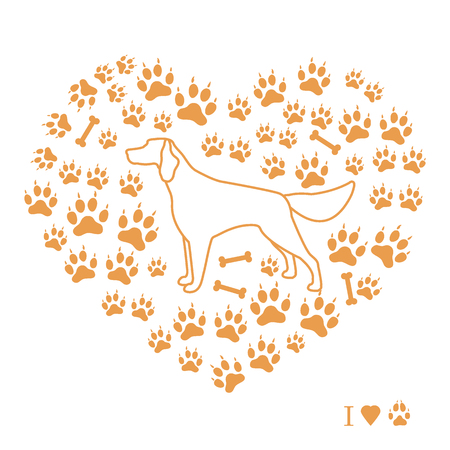 Setter silhouette on background of dog tracks and bones in the form of heart. Design element for postcard, banner, poster or print. Vector illustration.