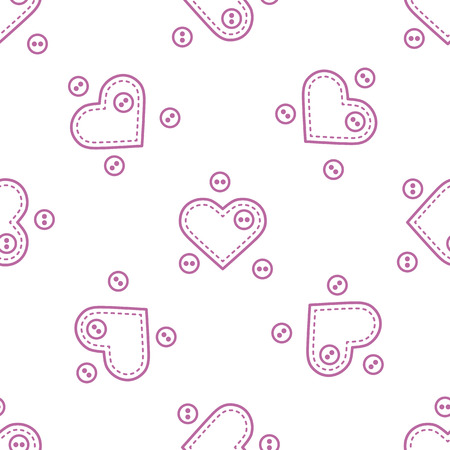 Cute seamless pattern with needle cases in shape of hearts and buttons.Template for design, fabric, print. Valentine's day. Vector illustration.  イラスト・ベクター素材