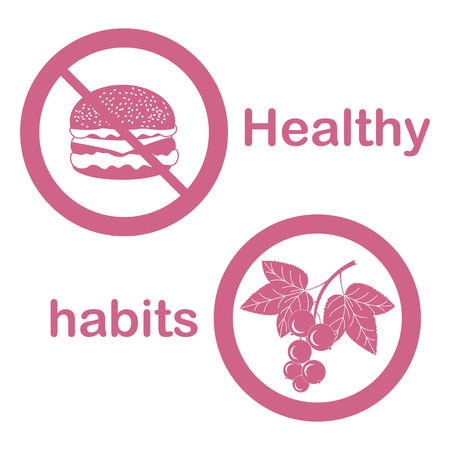 Useful and harmful food. Proper nutrition with excess weight and obesity. Cheeseburger and black currant. Vector illustration.