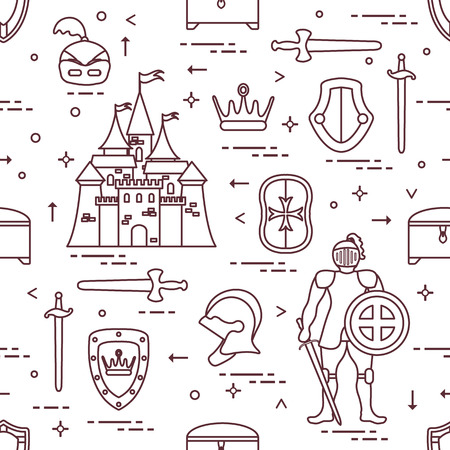Seamless pattern with knight, castle, shields, swords, cuirass, helmet, crown, treasure chest. Design for banner or print. Vector illustration. Vettoriali