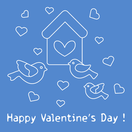 Cute picture with birds, birdhouse and hearts. Template for design, fabric, print. Greeting card Valentine's Day Vector illustration. Illustration