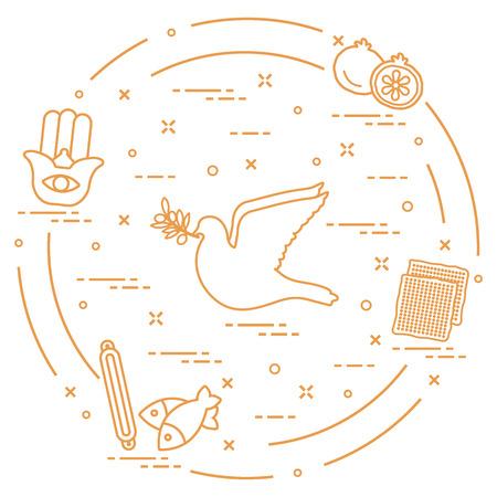 Jewish symbols: dove, olive branch, pomegranate, matzah, fish, hamsa, mezuzah. Design for postcard, banner, poster or print. Vector illustration. Stock Vector - 97038477