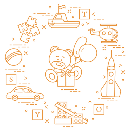 Children's toys: car, bear, ship, helicopter, rocket, designer, ball, puzzle, cubes, gift, balloons. Design for poster or print. Vector illustration.