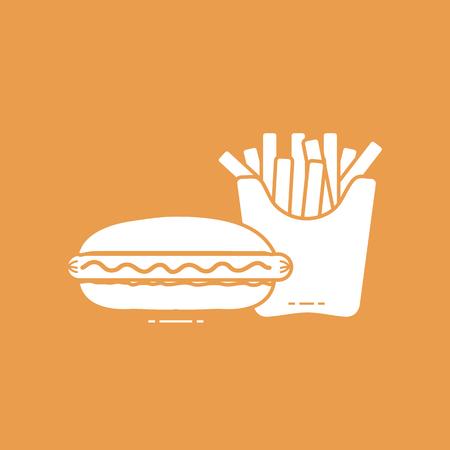 Frieten en hotdogs. Schadelijke eetgewoonten. Ontwerp voor banner en print. Vector illustratie Stockfoto - 97038486
