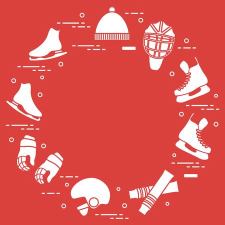 Skates, gloves, hat, goalkeeper's mask and helmet, leggings. Winter sports elements. Vector illustration.