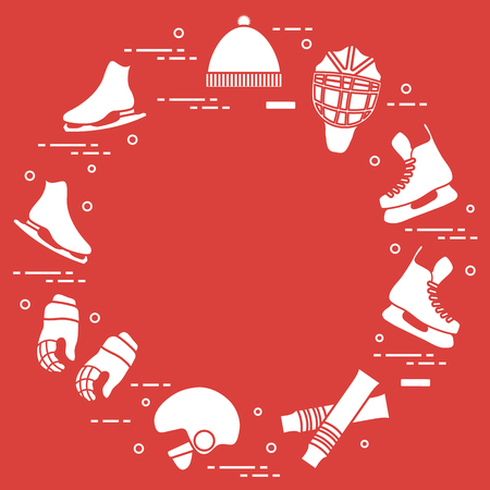 Skates, gloves, hat, goalkeeper's mask and helmet, leggings. Winter sports elements. Vector illustration.