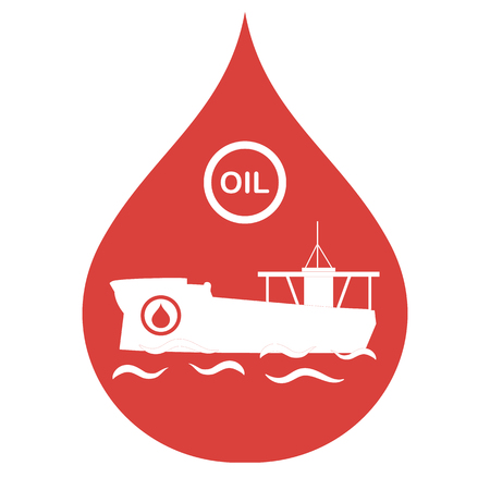 tanker carrying oil inside a drop icon. Production and transportation of oil  Vector illustration.