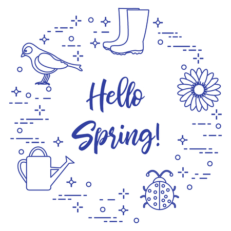 Rubber boots, bird, flower, watering can, ladybug. Phrase: Hello spring. Template for design, print. Vector illustration.