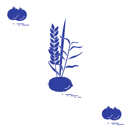 Pomegranate and Lulav - symbolic attribute of the holiday of Sukkot. Jewish traditions and symbols. Design for postcard, banner, poster or print. Vector illustration.