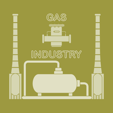 Gas processing plant. Gas filter. Design for announcement, advertisement, banner or print. Vector illustration.