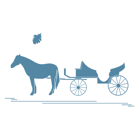 Vector illustration with horse-drawn carriage and oak leaf. Travel and leisure. Design for banner, poster or print. 向量圖像