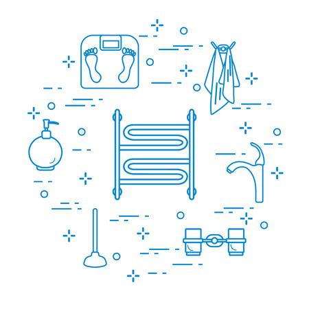 Bathroom elements: scales, towel warmer, faucet, plunger, glasses, soap dispenser, towels. Design for poster or print. Vector illustration.