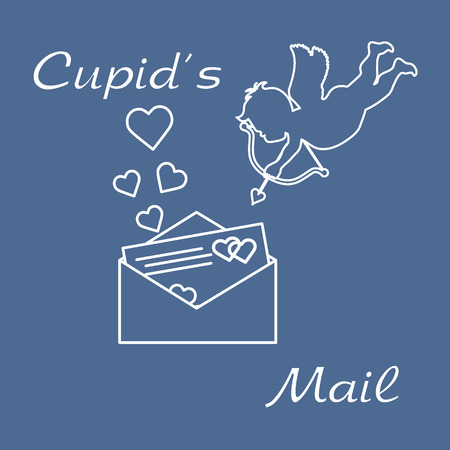 Cupid shoots a bow and envelope with Valentine's card and hearts. Love symbol. Design for banner, poster or print. Vector illustration.