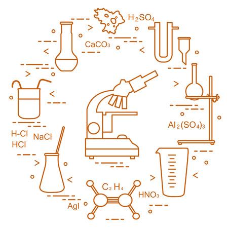 Chemistry scientific, education elements: microscope, flasks, tripod, formulas, beaker, amoeba, measuring cup, funnel, U-shaped tube. Design for banner, poster or print. Vector illustration. Illustration