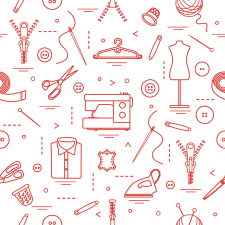 Seamless pattern with tools and accessories for sewing. Template for design, fabric, print. Vector illustration.